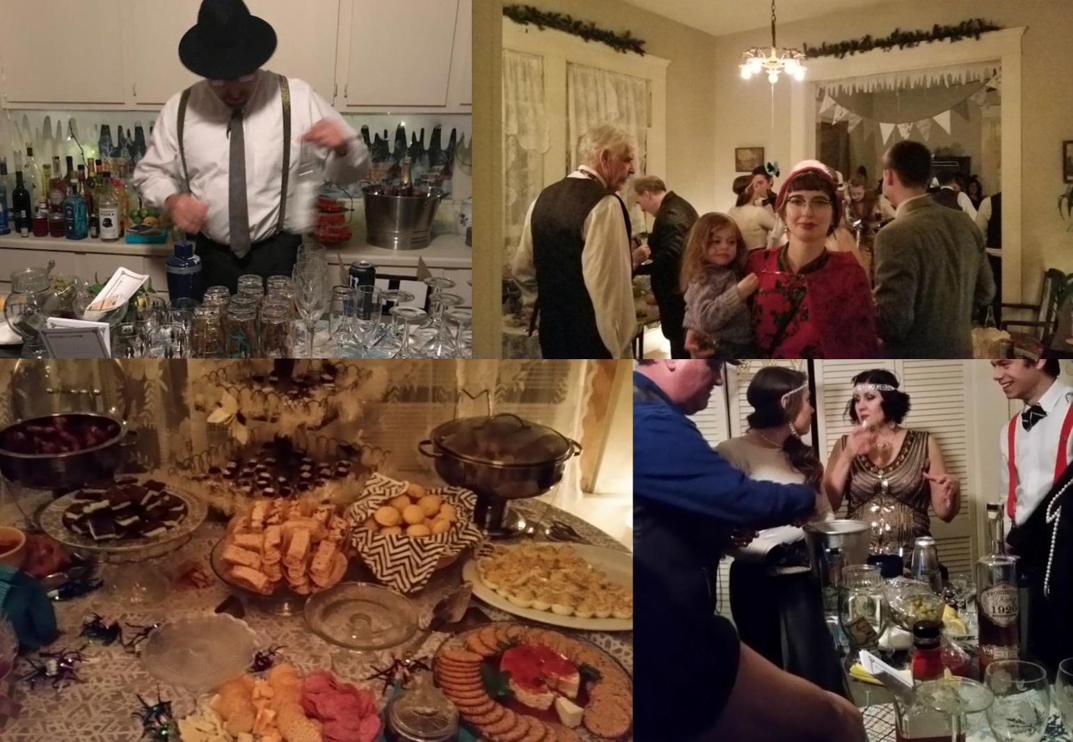1920s New years Eve party 2018 backdrop collage food
