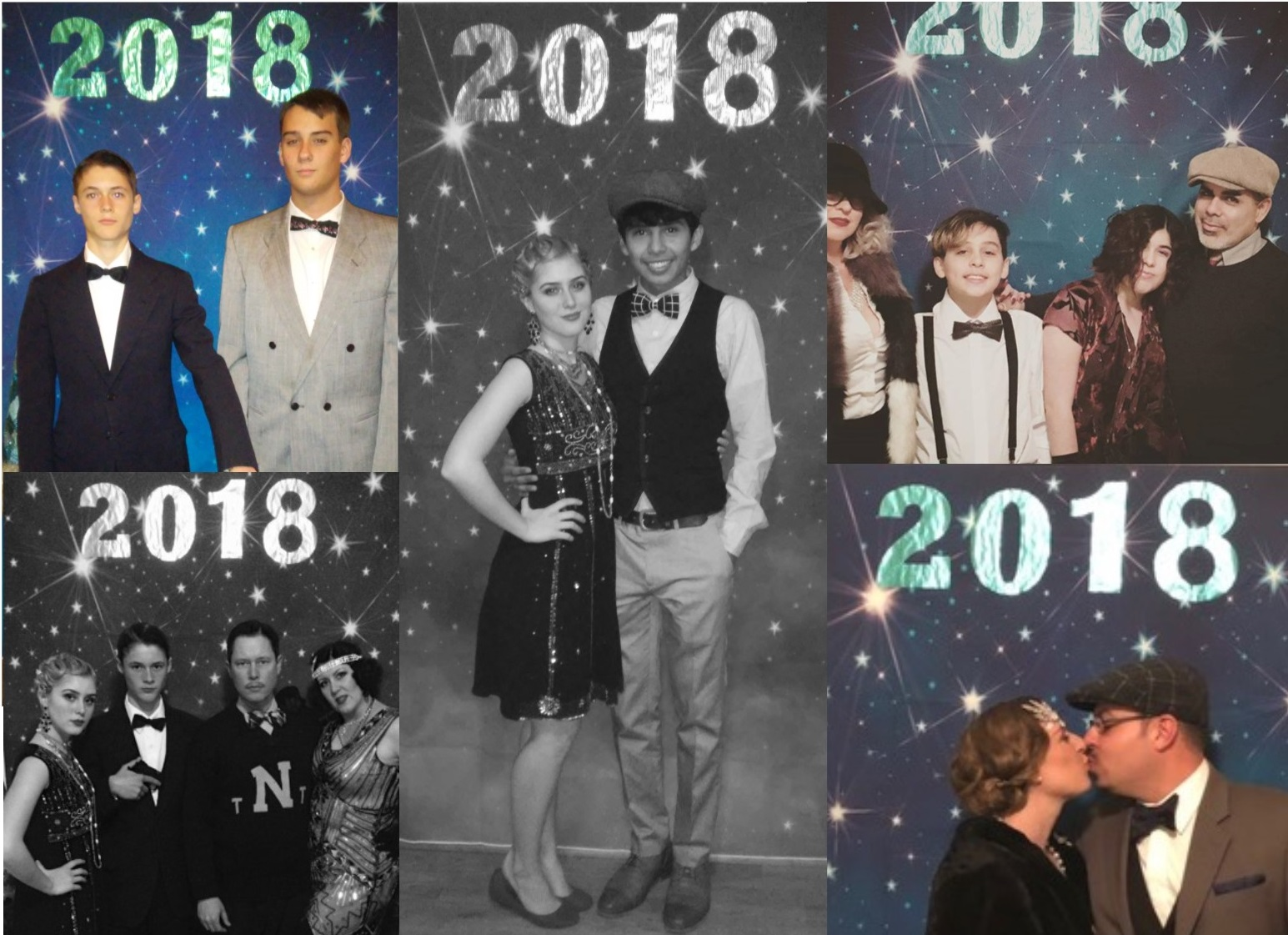 1920s New years Eve party 2018 backdrop collage