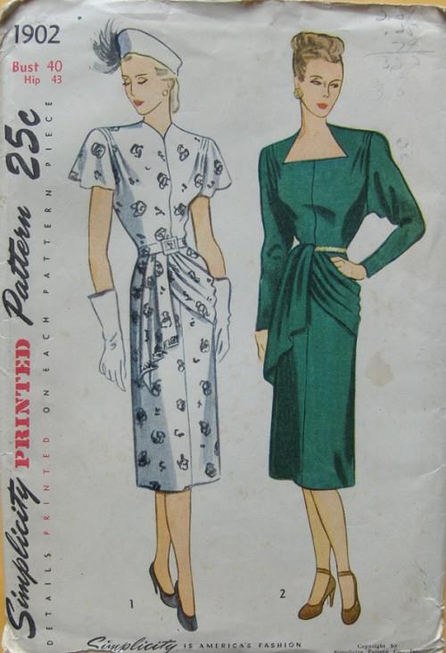 1940 Draped Dress Pattern