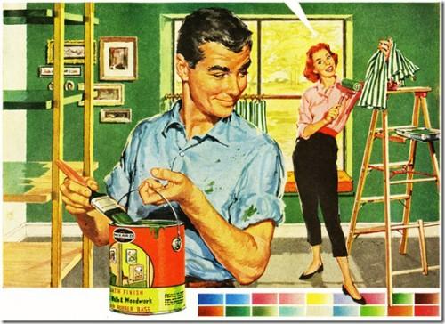1950s paint ad, couple painting their house vintage backyard idea