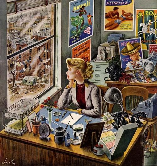 40s 50s gal in office