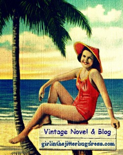 Vintage 40s Girl in Swimsuit and hat