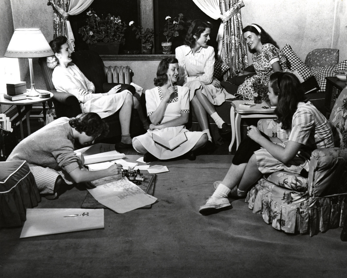 40s teens or college girls writing the girl in the jitterbug dress