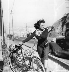 1940s Woman on bicycle