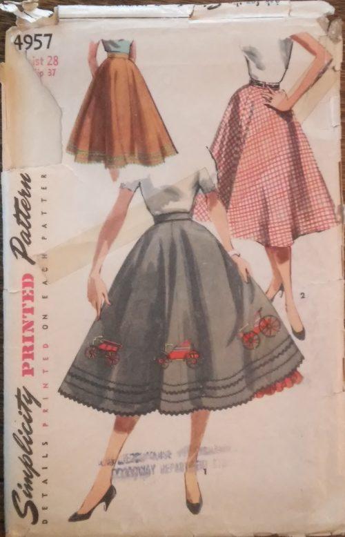 1950s vintage sewing pattern skirt