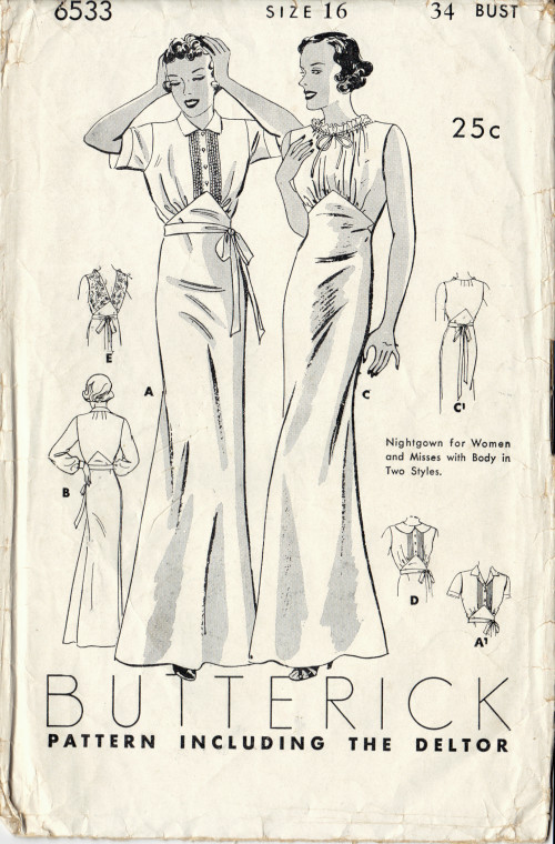 1930s vintage sewing pattern gathered neckline