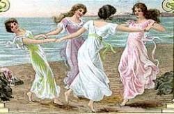 Viantge Victorian women dancing in circle