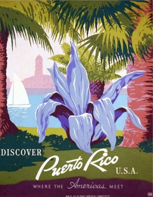 Puerto Rico label vintage decor