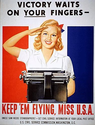 WWII poster girl typewriter