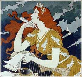 art nouveau lady writing