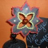 vintage paper craft black ornament close up