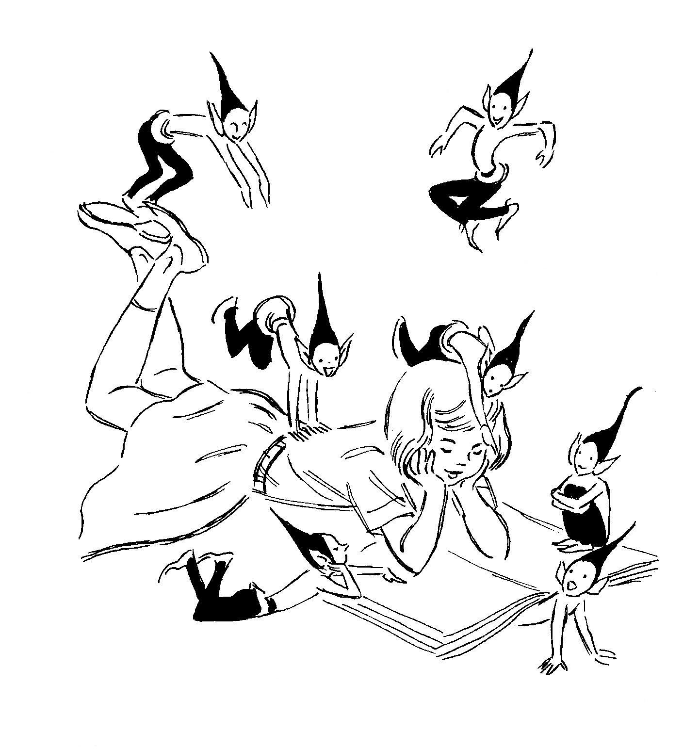 Brownie And Girl Reading on Jitterbug Line Dance