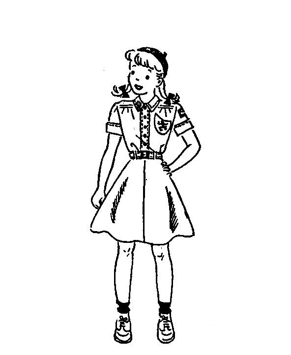 1940s 1950s Vintage Girl Scout Line Art - The Girl In The Jitterbug