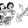 brownies singing girl scout vintage clip art