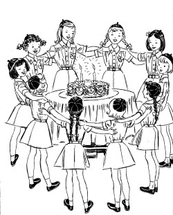 Vintage Girl Scout Celebration clip art