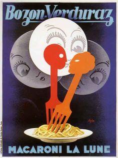 forks spaghetti vintage Italian food art