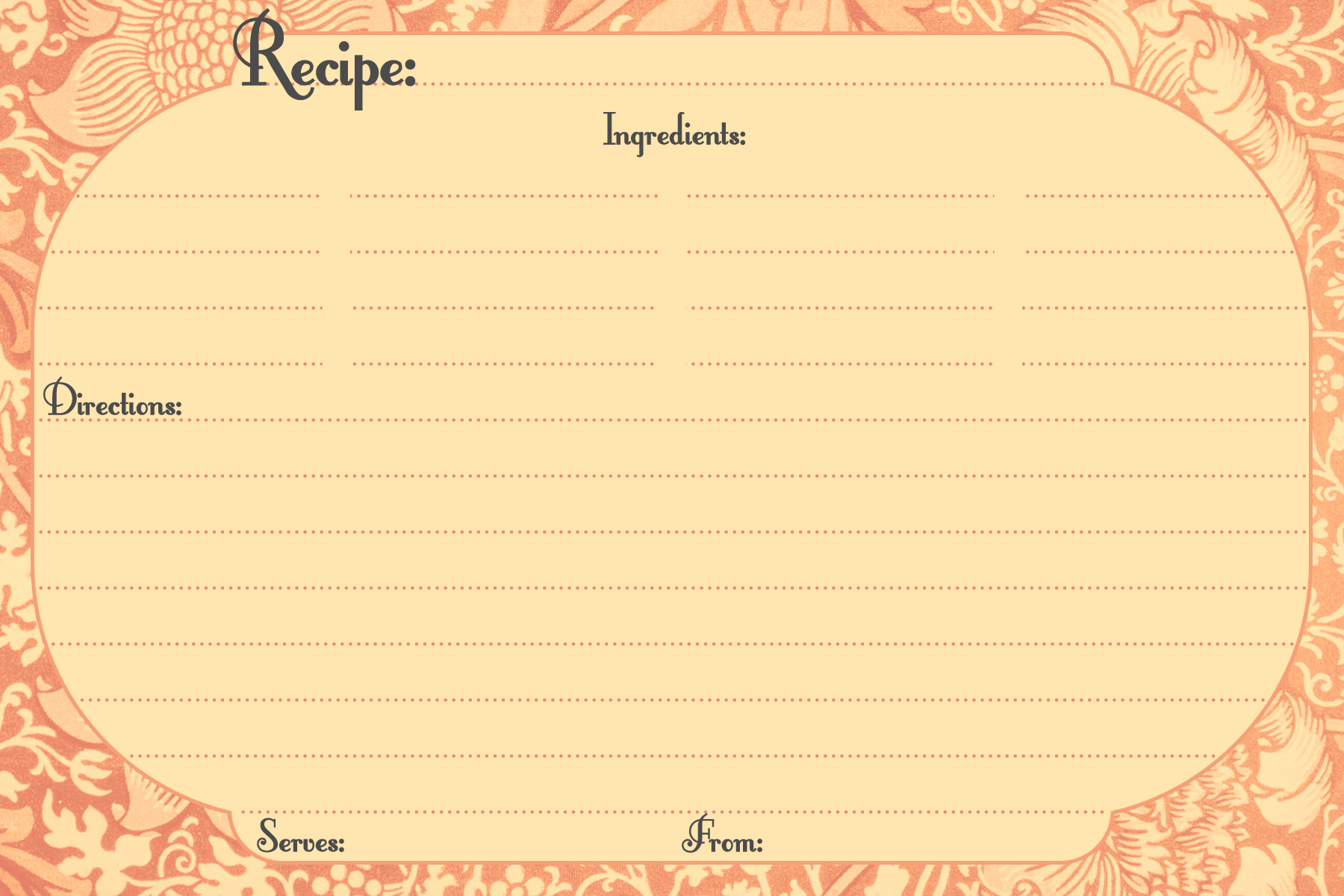 free-recipe-card-template - The Girl In The Jitterbug Dress Throughout 4x6 Photo Card Template Free
