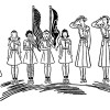 vintage girl scout clip art flag ceremony