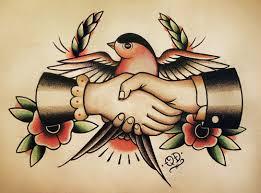 1930s vintage tattoo handshake