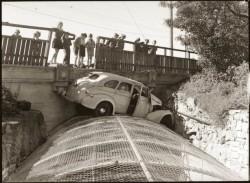 1940s car crash off bridge
