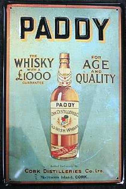 paddy whiskey vintage ad