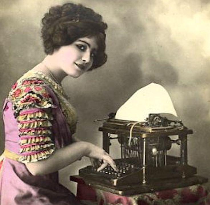 teens 20s gal at typewriter
