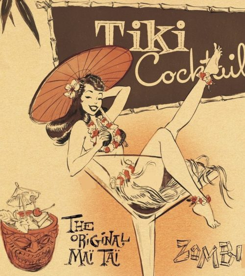 tiki cocktail girl in glass