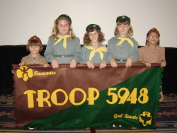vintage Girl scout troop with banner color