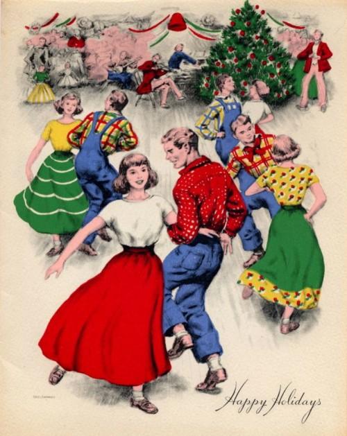 40s 50s vintage christmas dancing
