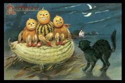 vintage-halloween-pumpkin-family-black-cat-poster